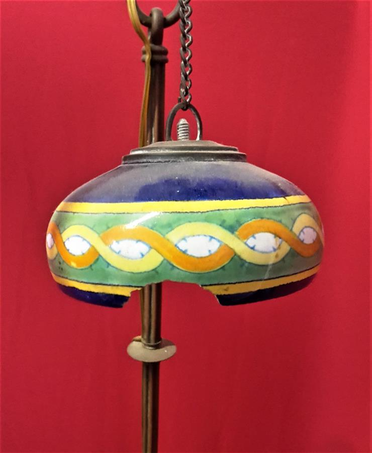 Nine-lamp majolica chandelier