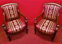 Pair of Empire armchairs in Mahogany