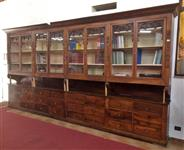 Pair of pharmacy furniture with glasses and drawers mid 800