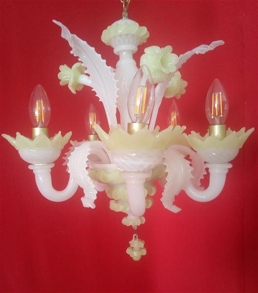 Small chandelier in white and green opaline glass