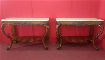 Pair of large Italian salon consoles