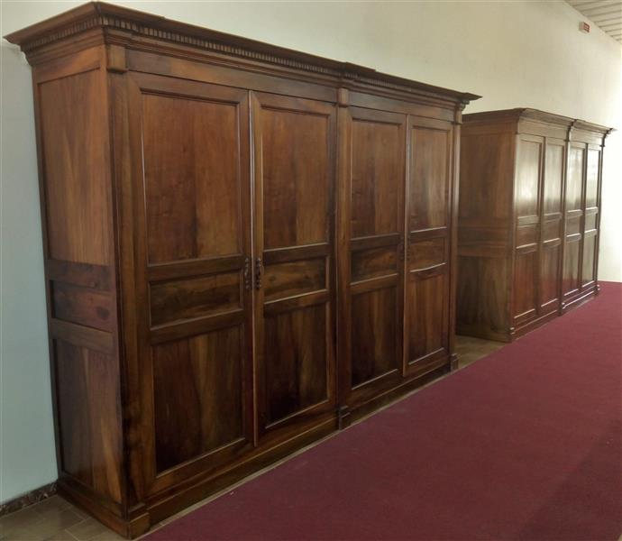 Pair of large wardrobes in Walnut