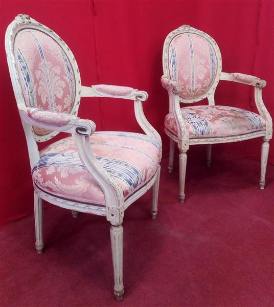 Pair of Louis XVI style lacquered armchairs