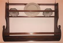 Wall plate rack Tuscany, chestnut, restored.