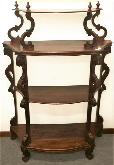 Italian walnut etagere with 4 shelves Louis Philippe