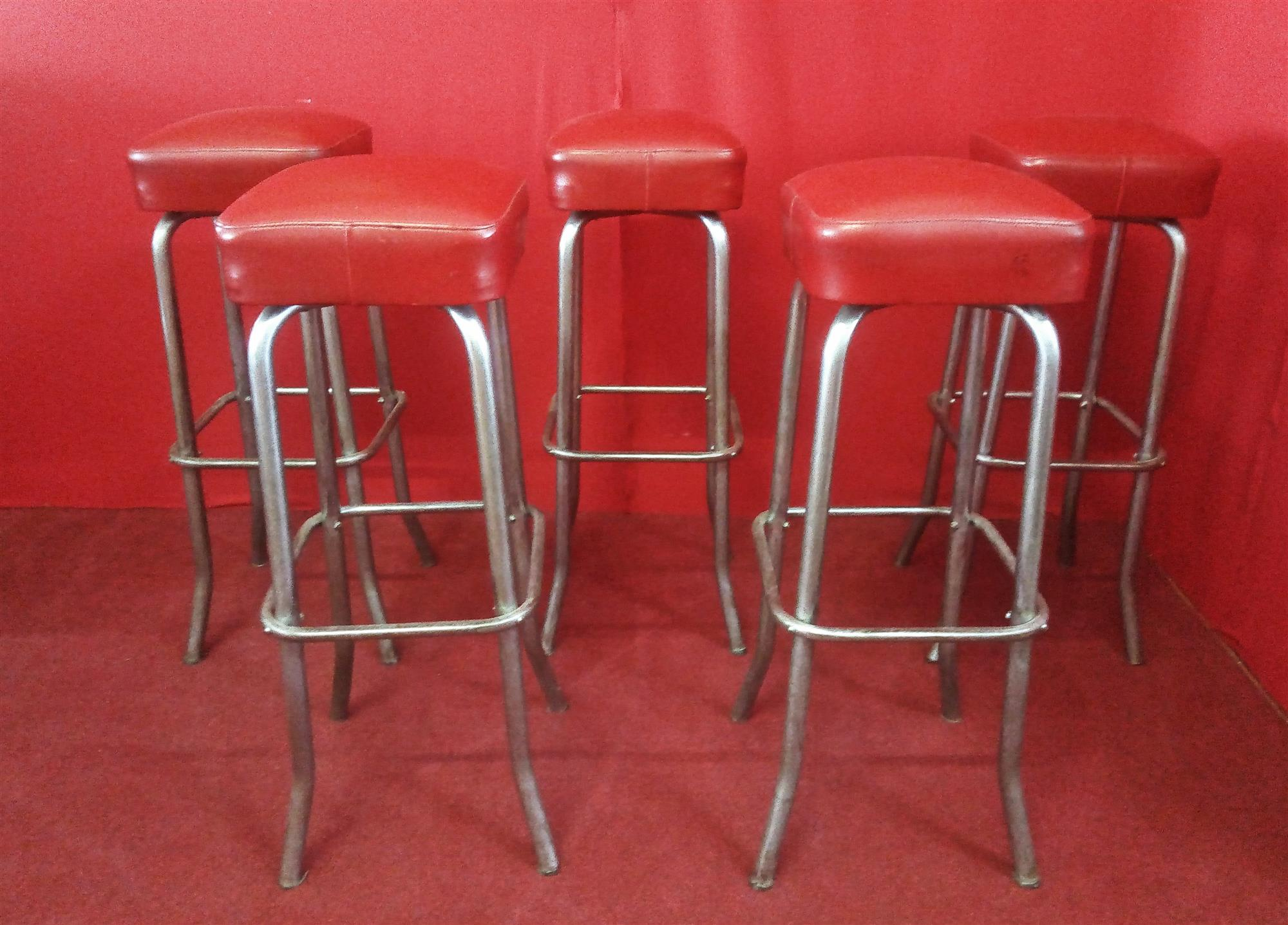Group of 5 chromed metal stools